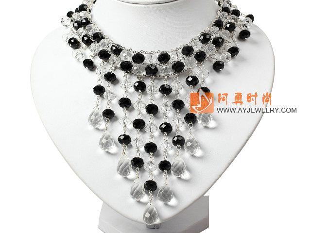 黑白水晶项链 礼服款