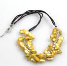 金黄色棕色牙齿珍珠项链