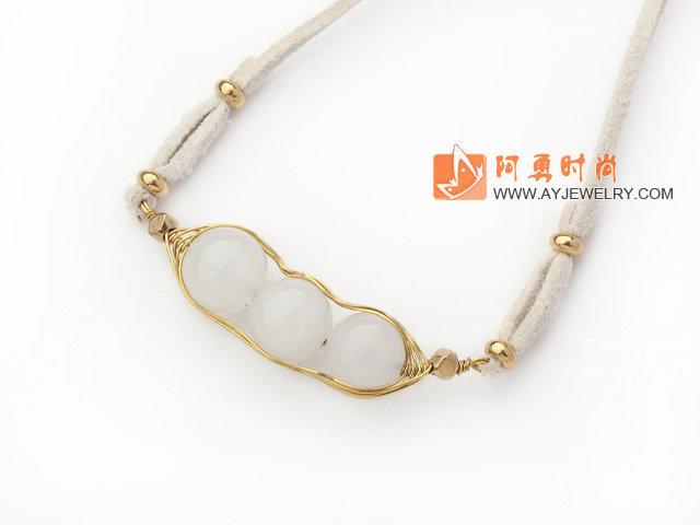 白玉豆豆手工编织项链 皮绳吊坠款-宝石饰品-宝石项链