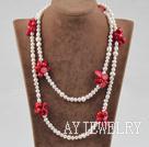 珍珠红珊瑚项链毛衣链