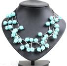 天蓝色贝壳珠时尚项链