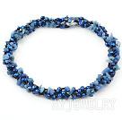 蓝珍珠蓝矿石项链