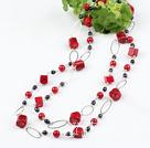 黑珍珠红珊瑚项链毛衣链