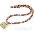 染色珍珠柠檬晶项链
