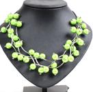 深苹果绿色贝壳珠时尚项链
