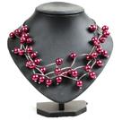 酒红色贝壳珠时尚项链