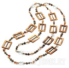 天然玛瑙珍珠贝壳项链 140cm合金链长款
