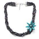 黑珍珠蓝松石花项链