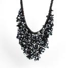 黑色系水晶水滴礼服项链
