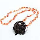 长款碎石花朵项链 (可做同款玛瑙,东陵玉,白水晶,黑玛瑙项链,随机发货)