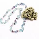 长款碎石花朵项链 (可做同款紫萤石,紫黄晶,黄水晶,黑发晶项链,随机发货)