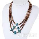 染色珍珠蓝玉项链