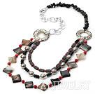 红珊瑚黑玛瑙项链(心形龙虾扣)