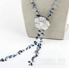 蓝晶是贝壳花项链毛衣链