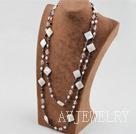 珍珠水晶白蝶贝项链毛衣链 140cm长款