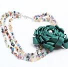 珍珠多宝石缎带花朵项链