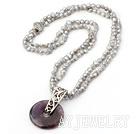 灰珍珠紫晶平安扣项链