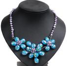 紫色珍珠水晶花朵项链