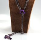黑珍珠紫玛瑙长款流苏项链