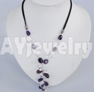 紫晶白水晶项链