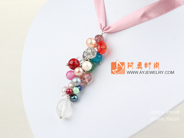 七彩杂石水晶项链