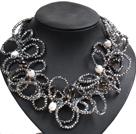 白珍珠茶晶银灰色水晶圈圈项链