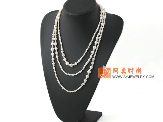 天然长款白珍珠项链毛衣链