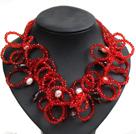 白珍珠茶晶红色水晶圈圈项链