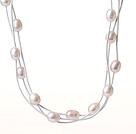 天然白色珍珠项链 三层皮绳款
