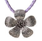 藏银花项链 皮绳吊坠款