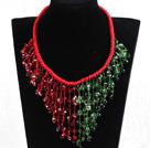 红绿水晶编织项链
