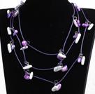 紫色系珍珠贝壳石头长款毛衣链项链