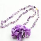 长款碎石花朵项链 (可做同款紫晶,红石,原色玛瑙项链,随机发货)