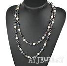 黑白珍珠项链毛衣链