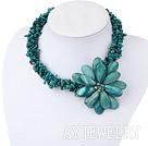 绿珊瑚贝壳花项链
