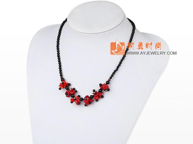 黑玛瑙红珊瑚项链