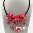 红色珍珠贝壳项链