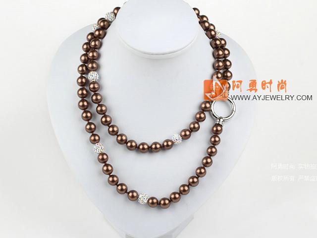 棕色海贝珠水钻球项链毛衣链