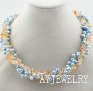 染色珍珠黄水晶项链
