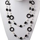 长款黑玛瑙白珍珠项链