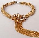 金香槟色珍珠水晶夸张项链