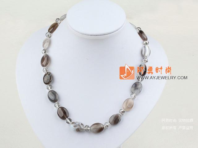 水晶灰玛瑙项链