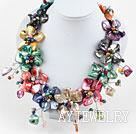 珍珠彩色贝壳花项链