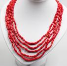 五串红珊瑚项链