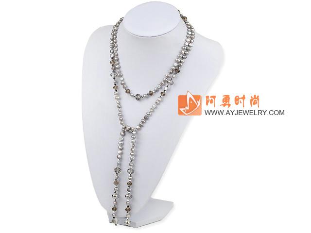 珍珠捷克水晶项链毛衣链