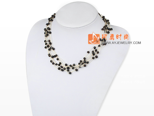 棕色贝壳珍珠水晶项链毛衣链