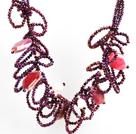 紫红色水晶珍珠玛瑙夸张项链