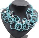 天蓝色水晶珍珠玛瑙夸张项链