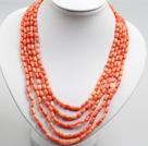 五串橘粉珊瑚项链