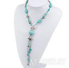 松石珍珠水晶项链毛衣链